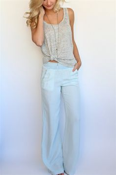 Polar Indigo Smocked Pant from Splendid at Rosie True knotted tank top Toms Outfits, Cute Outfits, Fashion Outfits, Fasion, Summer Wear, Spring Summer Fashion, Summer Outfits, Wide Legs, Get Dressed