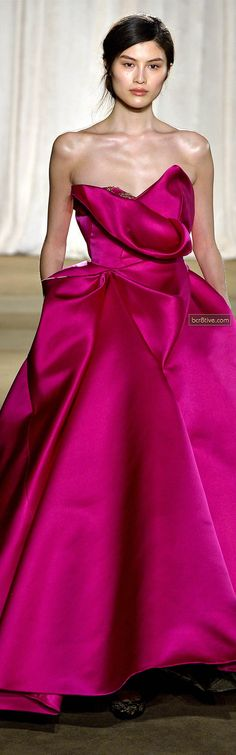 Marchesa FW 2013 at NYFW | dark pink | strapless | seamless | evening gown | high fashion