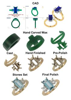 Stages in creating a pretty aquamarine and diamond ring.