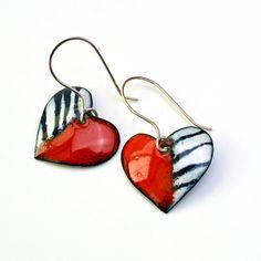 Enameled Heart Earrings Red White Black by RoseMarysGlassArt
