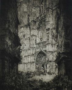 "Antwerp Cathedral (La Cathedrale d'Anvers) - JULES EBRUYCKER Belgian, (1870-1945) Etching, 1929, edition 100 plus only a few proofs of the rare first state. 23 7/8 x 19 in. Signed, titled and dated in pencil; also inscribed ""epr.1 etat"" (proof, first state).This dramatic, richly inked impression of the first state is before additional figures were added in the foreground . De Bruycker produced a few other prints on this scale but this is epic!."