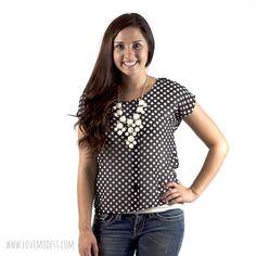 Black & White Polka Dot Top $18 www.lovemodest.com