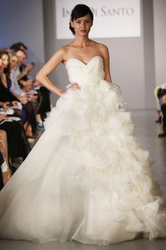 Ines Di Santo - Bridal Spring 2014  TAGS:Ruffles, Embroidered, Floor-length, Meringue, Strapless, White, Ines DiSanto, Tulle, Princess