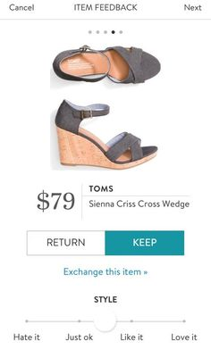 TOMS Sienna Criss Cross Wedge from Stitch Fix. Cute shoes! Stitch fix stylist - I usually go down to a 6.5 in Toms cause the stretch.