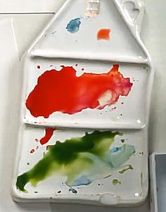 Watercolor Pallet, 6th Grade Art, Clay Projects, Ceramic Pottery, Plastic Cutting Board, Project Ideas, Objects, Colours, Crafts