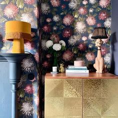 October Bloom floral wallpaper by Woodchip & Magnolia Credit Floral Print Wallpaper, Bold Wallpaper, Botanical Wallpaper, Unique Wallpaper, Neutral Paint, Light In The Dark, Family Room, October, Bloom