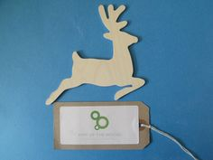 10 Birch ply wooden deer christmas decoration gift tag pyrography decopatch