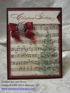 O' Christmas Tree Card...with a glitter tree and sheet music paper.  (Aug'13)  #Xmas, #music