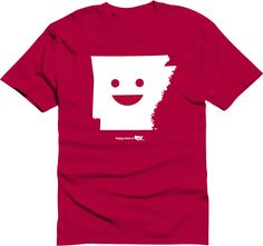 Arkansas Happy state Logo Shirt Screen printed in white on red shirt Product Description 100% cotton preshrunk jersey please message us before placing your order to make sure we have quantity avaialble in the size you need.  Size Chart size S M L XL Body Length 28 29 30 31 Body Width 18 ...