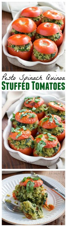 Roasted stuffed tomatoes are filled to the brim with a flavorful mixture of pest. Roasted stuffed tomatoes are filled to the brim with a flavorful mixture of pesto quinoa and fresh spinach. Vegan, dairy-free, and gluten-free. Veggie Dishes, Veggie Recipes, Whole Food Recipes, Vegetarian Recipes, Cooking Recipes, Healthy Recipes, Free Recipes, Cooking Tips, Spinach Recipes