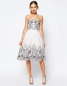 ASOS+SALON+Bandeau+Lace+Floral+Midi+Dress+In+Organza