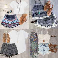 Top 10 Outfits for Summer! Cute Summer Outfits, Spring Outfits, Cool Outfits, Casual Outfits, Boho Fashion, Fashion Outfits, Girly, Fade Styles, Fashion Project