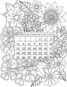 March 2018 Coloring Page  Calender Planner Doodle Flowers
