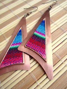 **2***/////    visitare***********Bohemien orecchini Rame di tribali Foglio, neutro tessuto di colore di rame