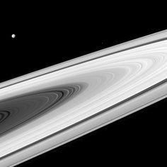 Saturn's magnificent rings, Dione and Epimetheus