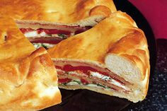 Salami, Provolone & Pepper Torte - Bread and Roll Dough Italian Sandwiches, Wrap Sandwiches, Food Dishes, Main Dishes, Competition Diet, Recipe Photo, Lunch Meal Prep, Dough Recipe, Trifle