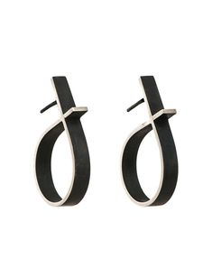 Silver & Black Intersected Circle Outline Earrings | e.g.etal | Melbourne Circle Outline, Hanging Earrings, Gift Vouchers, Earrings Handmade, Melbourne, Sterling Silver, Accessories, Black, Gift Cards
