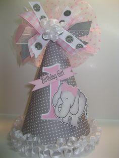 Personalized Gray & Pink Elephant  Birthday Party Hat. $12.99, via Etsy.