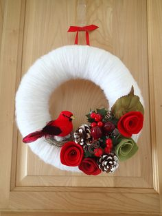 Red Cardinal Wreath - Christmas Wreath - Snowy White Yarn Wreath - Red Roses Berries Pine Cones - Hostess Gift - 10 in Door & Wall Decor
