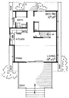 A-Frame Contemporary Retro House Plan 95007 Level One