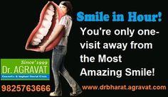 Dr. Bharat Agravat is an 16 years experienced award winner cosmetic implants dentist India. Offering best dental implants Periodontist in Ahmedabad cosmetic dentistry, smile in hour, teeth in an hour, Invisalign Braces, zirconia Crowns, teeth whitening, Veneers, RCT, mini implant retained fix dentures, Laser, Anti-Aging Dental treatments