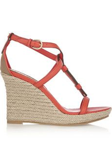 Burberry Shoes & Accessories Textured-leather espadrille wedge sandals | NET-A-PORTER