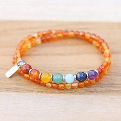 Sacral Chakra Carnelian Wrap Bracelet Crystal Jewelry, Wire Jewelry, Gemstone Jewelry, Beaded Jewelry, Beaded Bracelets, Chakra Jewelry, Chakra Bracelet, Sacral Chakra, Chakra Stones