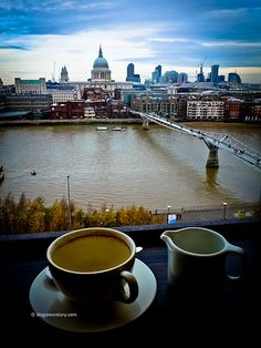 @ Tate Modern overlooking Thames, Millenium Bridge and St Paul's Cathedral Coffee Love, Coffee Cup, Harry Potter Locations, Tate Modern London, Tea And Books, Scene Image, City Scene, Great Places, Tea Time