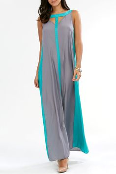 $10.81 Two Tone Sleeveless Maxi Dress - Gray