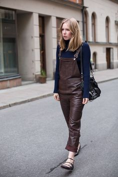 5 Fresh Takes On Overalls (The Edit) Leather Overalls, Leather Jumpsuit, Leather Pants, Jean Top, Chambray, Cool Outfits, Casual Outfits, Vinyl Clothing, Street Style
