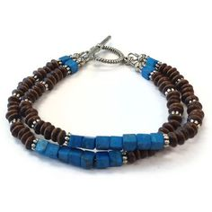 Brown Bracelet Blue Wood Jewelry Mother Daughter by cdjali on Etsy, $20.00