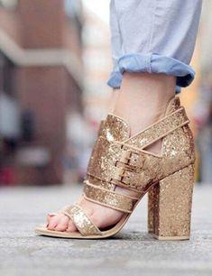 88e9e5df8a0 Gold sparkle heels and light wash denim