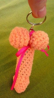 Crochet Penis Keychains with chapstick inside. Great for a bachelorette party...