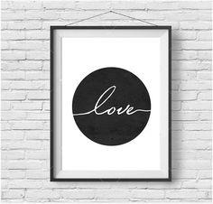 Love Print, Minimalist Print, Scandinavian, Wall Art, Downloadable poster, printable art, black and white, Nursery art, greeting card, home