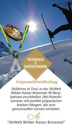 Skifahren in Tirol, in der SkiWelt Wilder Kaiser-Brixental: 90 Bergbahnen erschließen 284 Pistenkilometer mit perfekt präparierten breiten Hängen, die zum genussvollen Carven einladen.  4 Urlaubsnächte ab 572.- pro Gast  #alpenschlösslfeeling#skiwelt #tirol #austria #skifahren #unterkunft #genussvollCarven Wilder Kaiser, Events, Movies, Movie Posters, Brass Band Music, Wine Festival, Kaiserschmarrn, Ski, Farmhouse