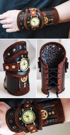 Steampunk leather watch by LullisCraft, Red and Brown genuin. - Steampunk leather watch by LullisCraft, Red and Brown genuine leather wristband, Black Steampunk Leather bracelet, Steampunk cosplay cuff for men and women Moda Steampunk, Steampunk Design, Victorian Steampunk, Steampunk Clothing, Steampunk Fashion Women, Steampunk Cosplay, Steampunk Watch, Steampunk Dress, Steam Punk Diy