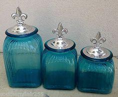 Ocean Blue Turquoise Canister Set with Pewter Fleur de Lis Lids   eBay