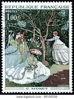 Engraving after painting Women in a Garden by a founder of French Impressionist painting Claude Monet stamp printed by FRANCE, circa 1972 Claude Monet, Postage Stamp Art, Stamp Printing, Vintage Stamps, Small Art, Stamp Collecting, Les Oeuvres, Poster, Illustration