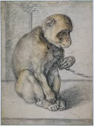 Monkey on a Chain, seated, Hendrick Goltzius, 1592 - 1602 - Hendrick Goltzius - Artists - Explore the collection - Rijksmuseum Animal Paintings, Animal Drawings, Art Drawings, Drawing Animals, Nature Illustration, Famous Art, Old Master, Wildlife Art, Gravure