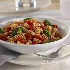 Spicy Mediterranean Pasta - A delicious vegetarian pasta dish with flavors of the Mediterranean! Get this recipe by clicking here! Vegetarian Pasta Dishes, Vegetarian Recipes Easy, Spicy Recipes, Cooking Recipes, Healthy Recipes, Bean Recipes, Healthy Dinners, Yummy Recipes, Healthy Food