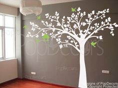 Big tree with love birds-Wall Decals-Trees of Nature Style.  Might be cool in beige/light brown against a chocolate accent wall?
