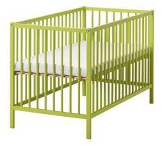 lime green baby blanket and IKEA Somnat crib Ikea Crib, Ikea Baby, Green Bedding, Crib Bedding, White Bedding, Pink Crib, Modern Crib, Nursery Inspiration, Baby Cribs