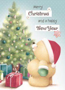 Kerstkaart - beertje-naast-de-kerstboom Merry Christmas And Happy New Year, Christmas Love, Christmas Pictures, Christmas Wishes, Christmas Greetings, Vintage Christmas, Hello Kitty Christmas, Friend Cartoon, Illustration Noel