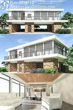 Modern House Plans : Architectural Designs Modern House Plan 44147TD Gives  You An Open Floor Plan