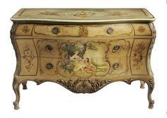Louis XV Style Paint-Decorated Bombé  Commode    20th century construction by Widdicomb, top drawer with stenciled Widdicomb label, drawers with oak linings and three with oak secondary, sectioned top drawer, faux-painted surface with leaf decoration,