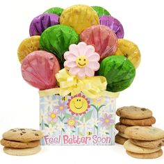 Feel Better Soon Cookie Gift Box  Feel Better Soon Cookie Gift Box This cheerful box tastefully arranged with a bouquet of twelve homemade cookies, including a smiling flower cut-out, will continue the healing with every bite. http://shop.o2o.com/item.php?LBB-MeK536R4c-30340