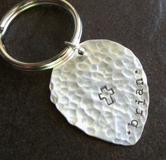 Hammered Custom Key Chain  Sterling Silver by JessicaMaiaDesigns