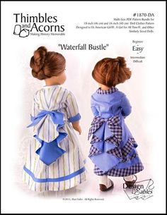 Thimbles and Acorns Waterfall Bustle Doll Clothes Pattern 18 inch American Girl Dolls | Pixie Faire
