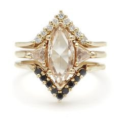 Shop Anna Sheffield's unique engagement rings and fine jewelry. Specializing in rose gold, champagne and black diamond bespoke jewelry designs. Wedding Rings Solitaire, Wedding Ring Bands, Engagement Rings, Trillion Engagement Ring, Long Engagement, Bridesmaid Jewelry Sets, Champagne Diamond, Pomellato, Vintage Rings