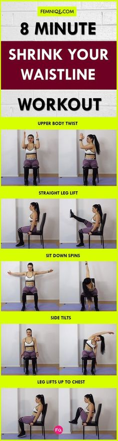 Try these ab chair exercises at work or school. You can sculpt your entire midsection while sitting at a desk. Very low-impact which is perfect for those who can't do explosive exercises.